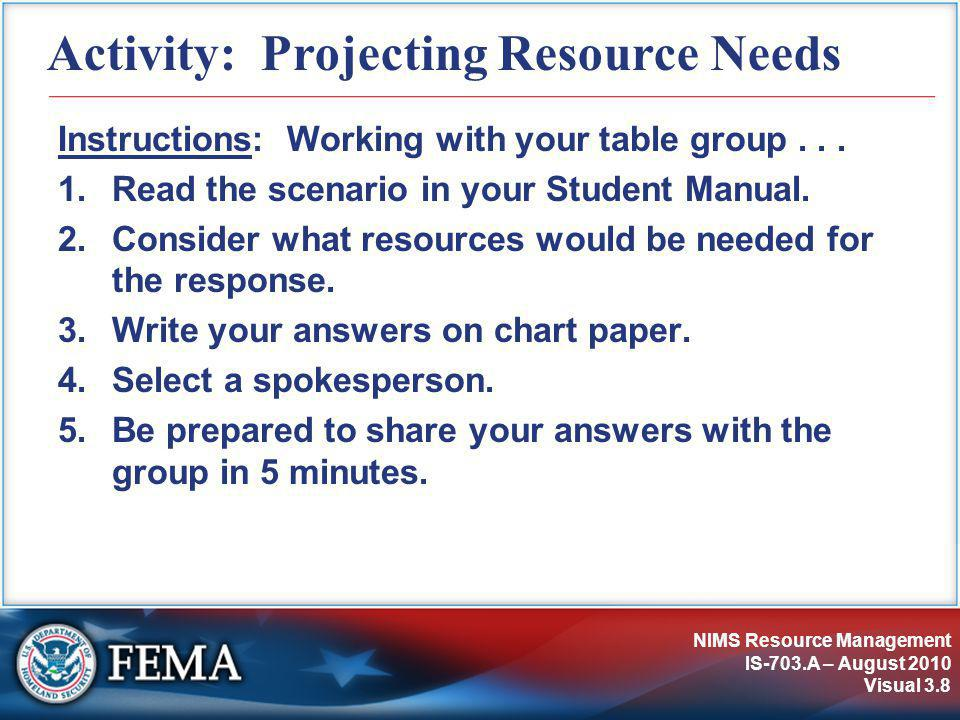 NIMS Resource Management IS-703.A – August 2010 Visual 3.8 Activity: Projecting Resource Needs Instructions: Working with your table group... 1.Read t