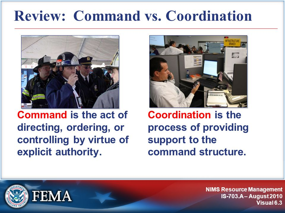 NIMS Resource Management IS-703.A – August 2010 Visual 6.3 Review: Command vs.