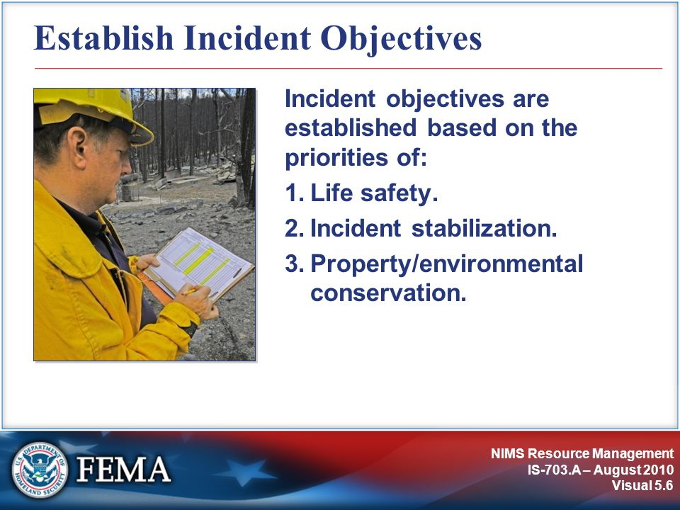 NIMS Resource Management IS-703.A – August 2010 Visual 5.27 Accounting for Responders Securing a perimeter allows the incident response organization to:  Establish resource accountability.