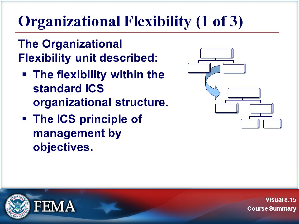 Visual 8.15 Course Summary The Organizational Flexibility unit described:  The flexibility within the standard ICS organizational structure.