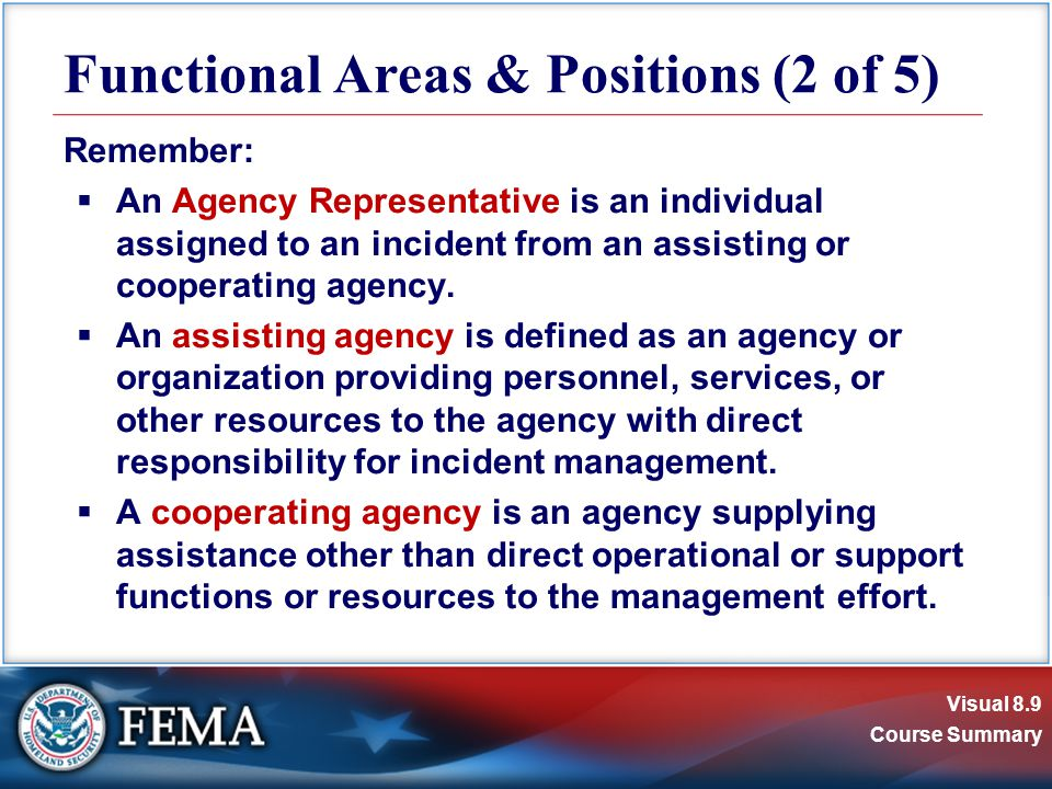 Visual 8.9 Course Summary Remember:  An Agency Representative is an individual assigned to an incident from an assisting or cooperating agency.