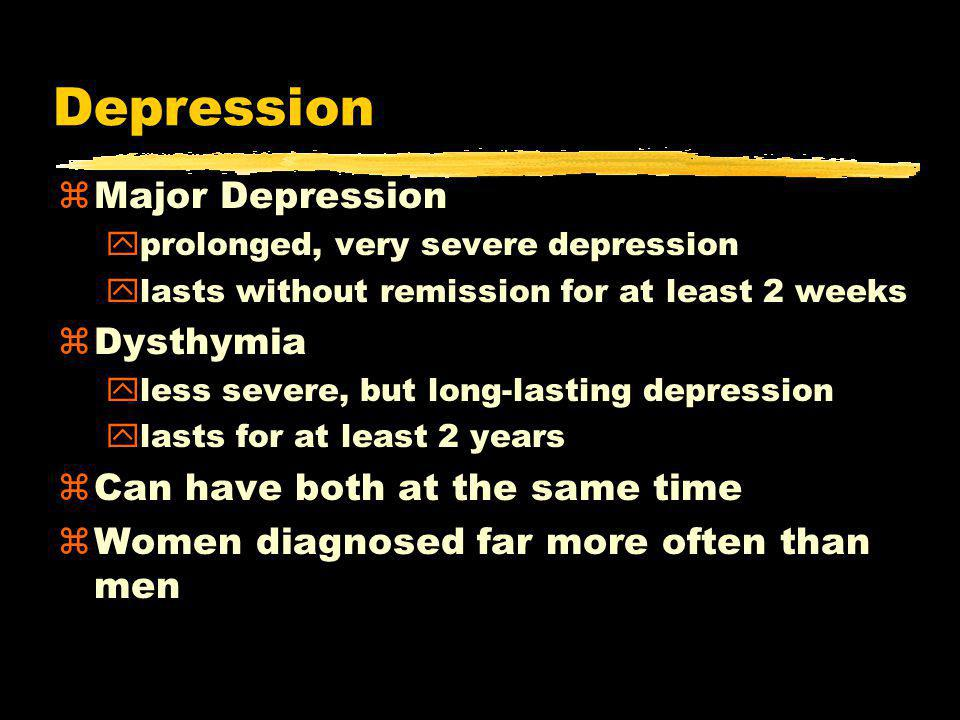 Depression zMajor Depression yprolonged, very severe depression ylasts without remission for at least 2 weeks zDysthymia yless severe, but long-lasting depression ylasts for at least 2 years zCan have both at the same time zWomen diagnosed far more often than men