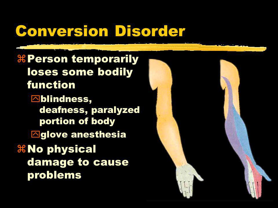 Conversion Disorder zPerson temporarily loses some bodily function yblindness, deafness, paralyzed portion of body yglove anesthesia zNo physical damage to cause problems