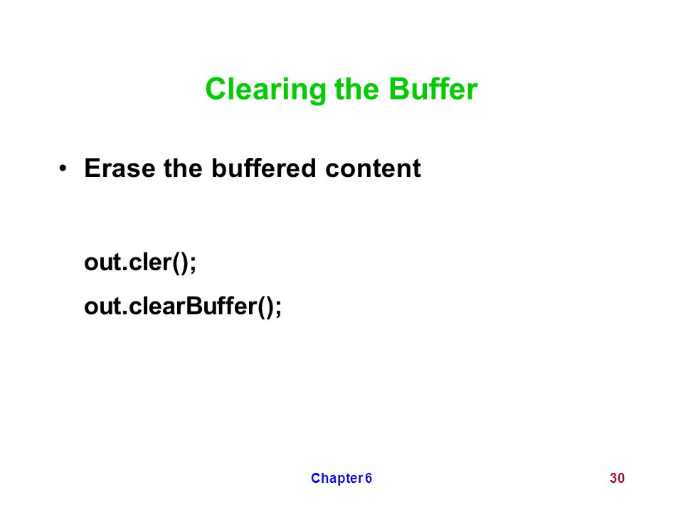 Chapter 630 Clearing the Buffer Erase the buffered content out.cler(); out.clearBuffer();