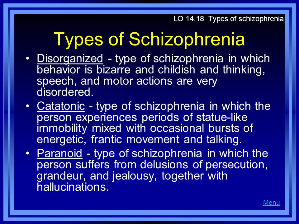 Types of Schizophrenia Disorganized - type of schizophrenia in which behavior is bizarre and childish and thinking, speech, and motor actions are very