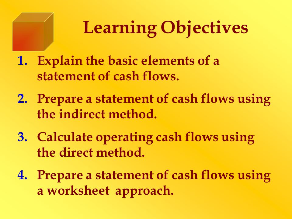 Learning Objectives 1.Explain the basic elements of a statement of cash flows. 2.Prepare a statement of cash flows using the indirect method. 3.Calcul