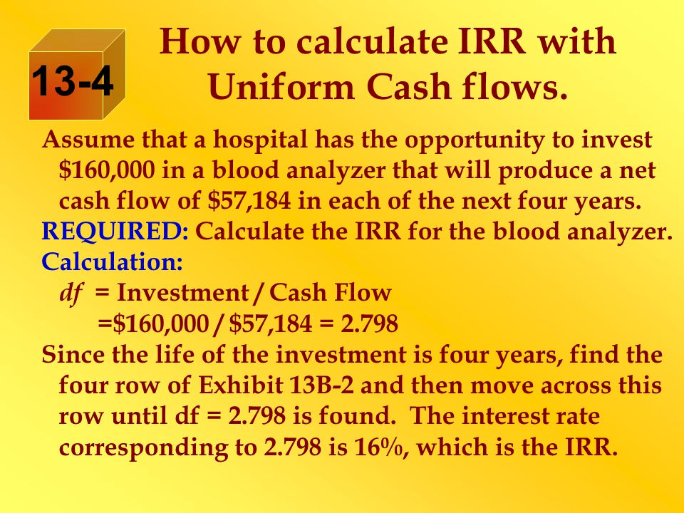 How to calculate IRR with Uniform Cash flows.