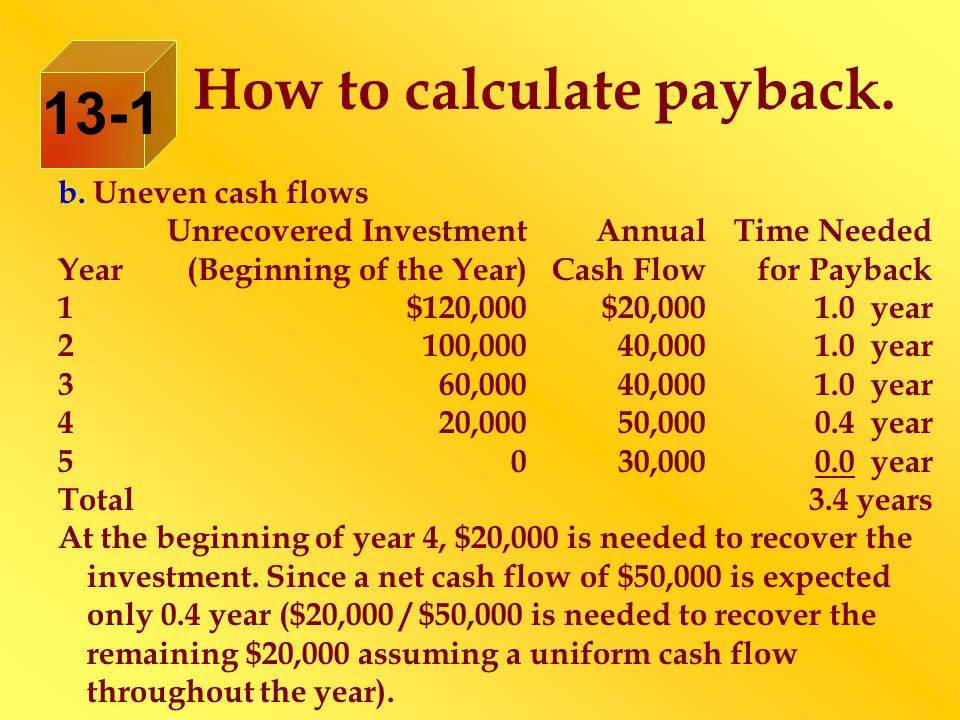 b. Uneven cash flows Unrecovered InvestmentAnnualTime Needed Year(Beginning of the Year)Cash Flowfor Payback 1$120,000$20,0001.0 year 2100,00040,0001.
