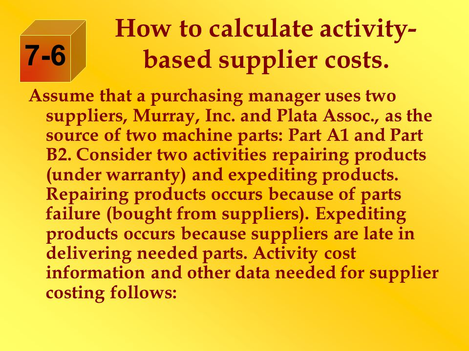 How to calculate activity- based supplier costs.