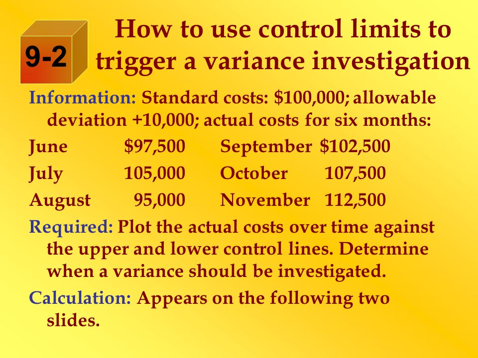 How to use control limits to trigger a variance investigation Information: Standard costs: $100,000; allowable deviation +10,000; actual costs for six months: June$97,500September $102,500 July105,000October 107,500 August 95,000November 112,500 Required: Plot the actual costs over time against the upper and lower control lines.