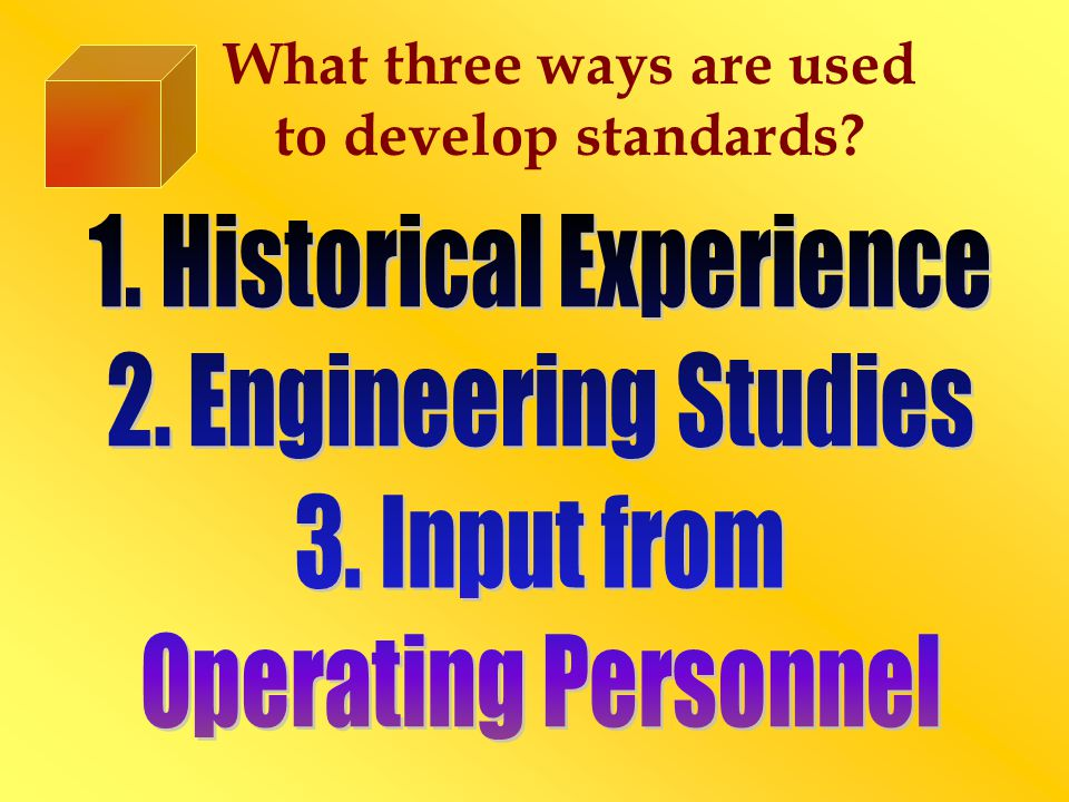 Define Ideal and Currently Attainable Standards ◙ Ideal Standards Demands maximum efficiency and is achievable only when everything operates perfectly.