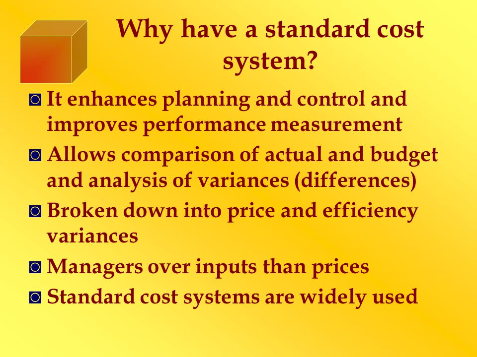 Why have a standard cost system.