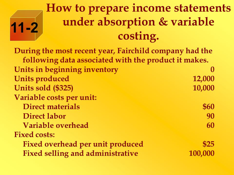 How to prepare income statements under absorption & variable costing. 11-2 During the most recent year, Fairchild company had the following data assoc