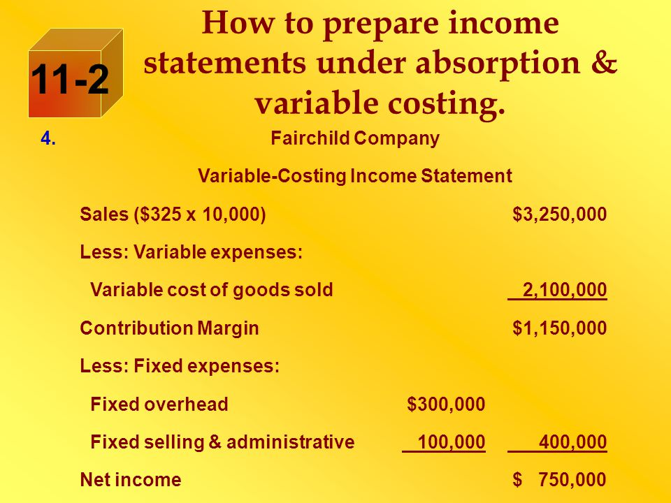 How to prepare income statements under absorption & variable costing. 11-2 4.Fairchild Company Variable-Costing Income Statement Sales ($325 x 10,000)