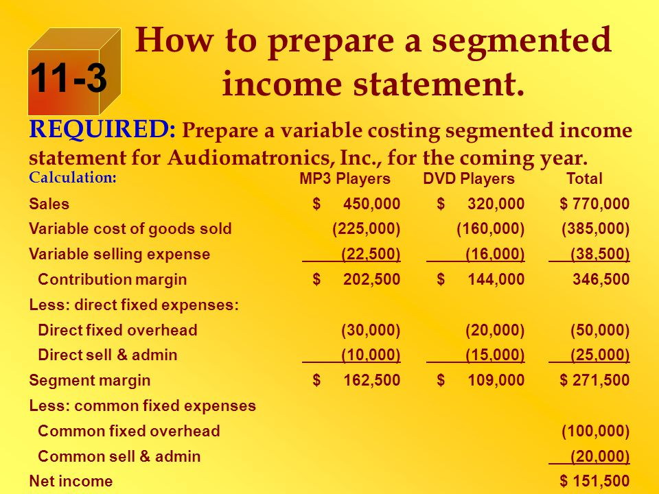 How to prepare a segmented income statement. REQUIRED: Prepare a variable costing segmented income statement for Audiomatronics, Inc., for the coming