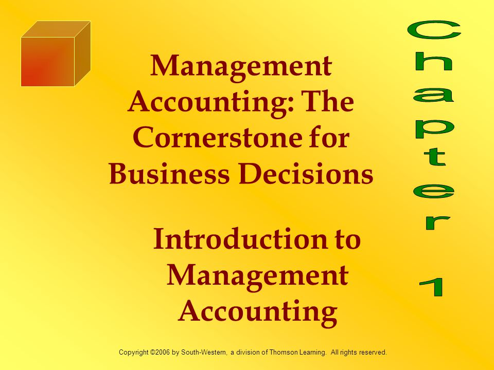 Learning Objectives 1.Explain the meaning of management accounting.