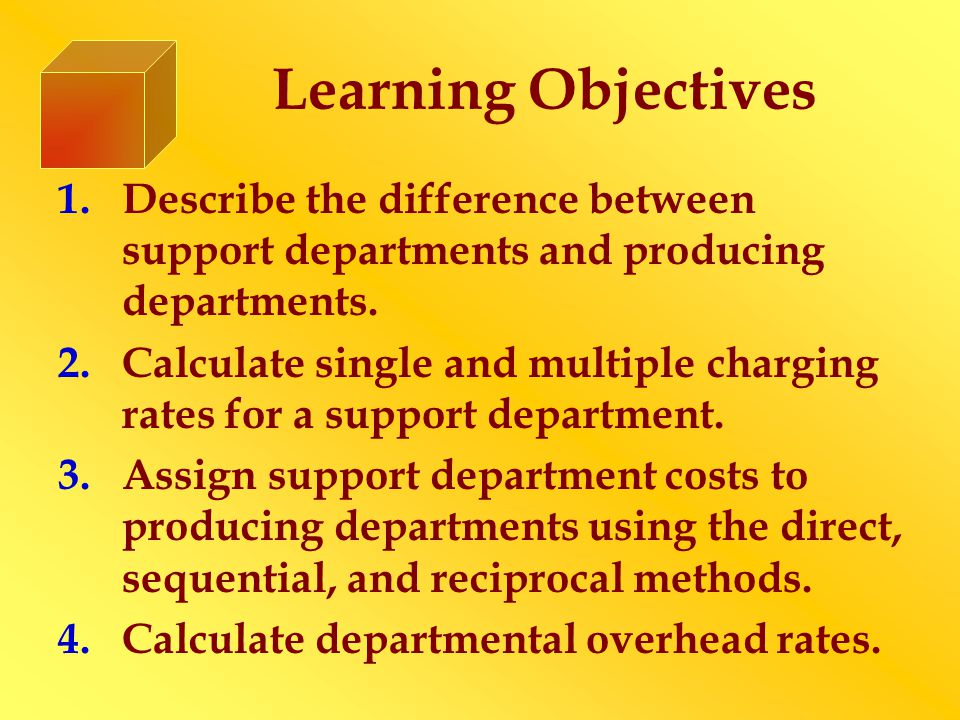 Learning Objectives 1.Describe the difference between support departments and producing departments.