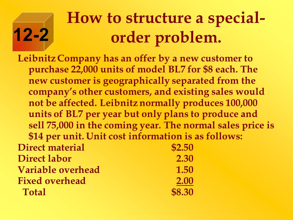 How to structure a special- order problem.