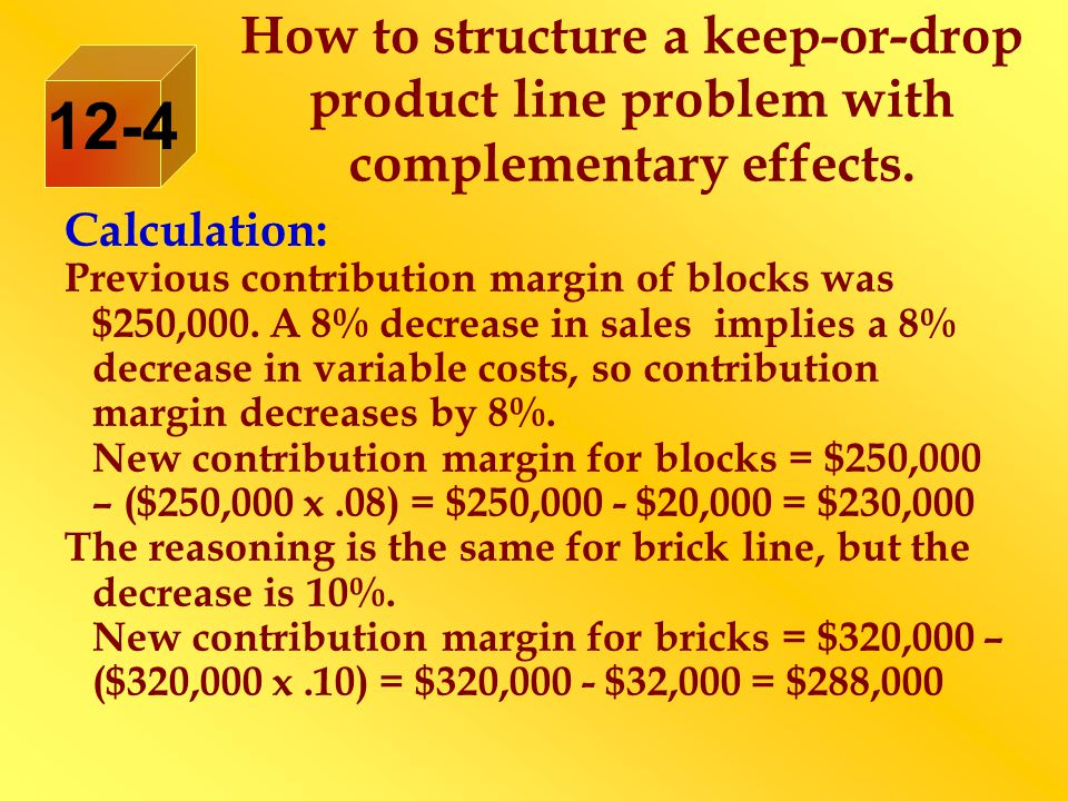 Calculation: Previous contribution margin of blocks was $250,000.