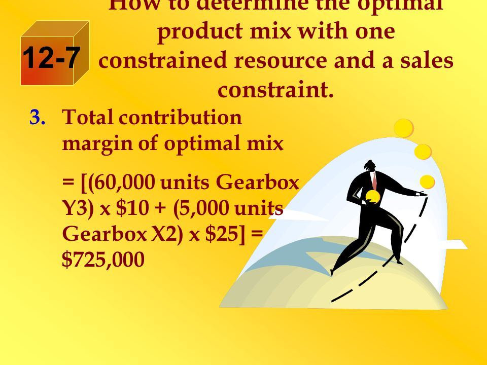 How to determine the optimal product mix with one constrained resource and a sales constraint.