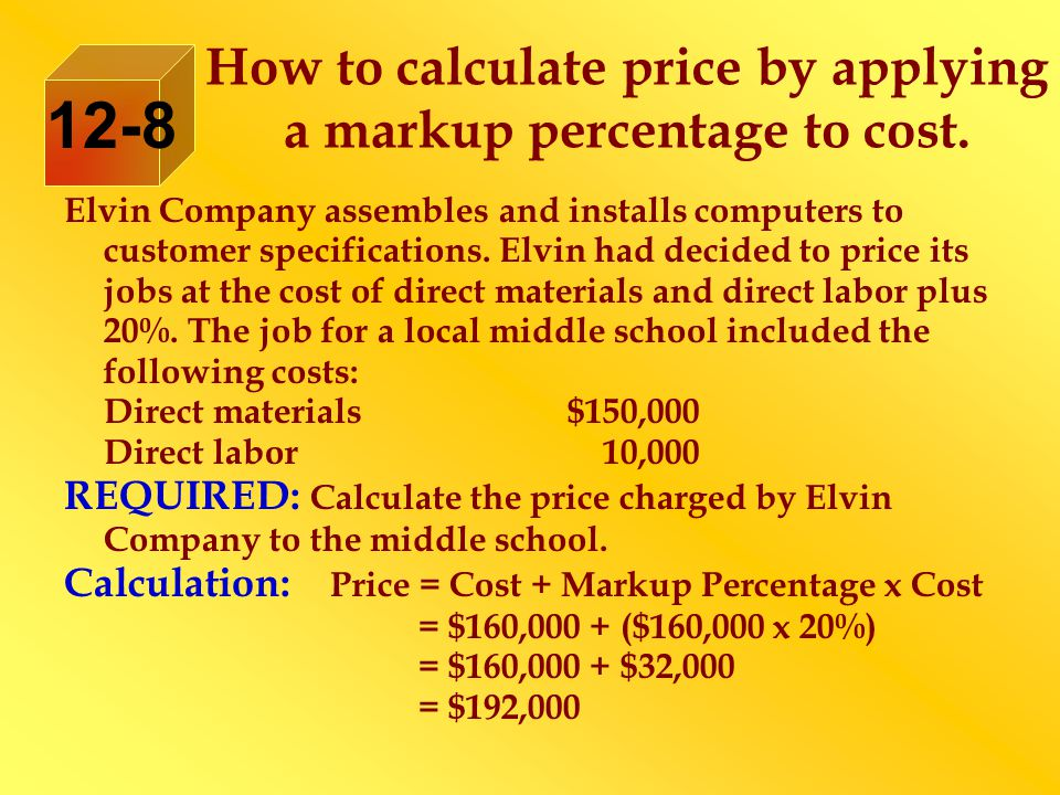 How to calculate price by applying a markup percentage to cost.