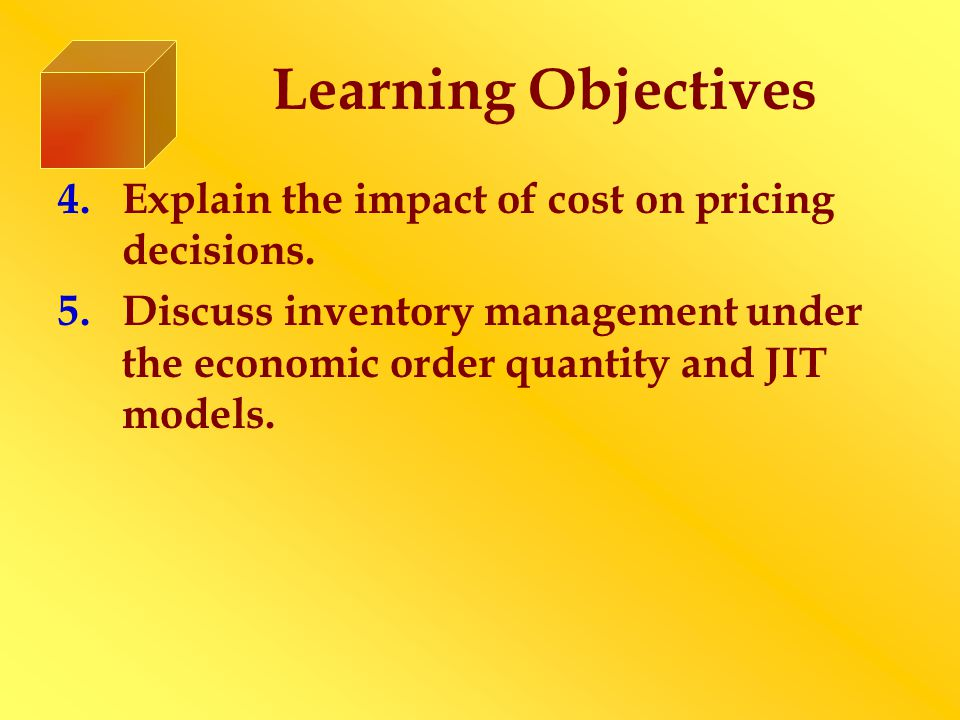 Learning Objectives 4.Explain the impact of cost on pricing decisions.