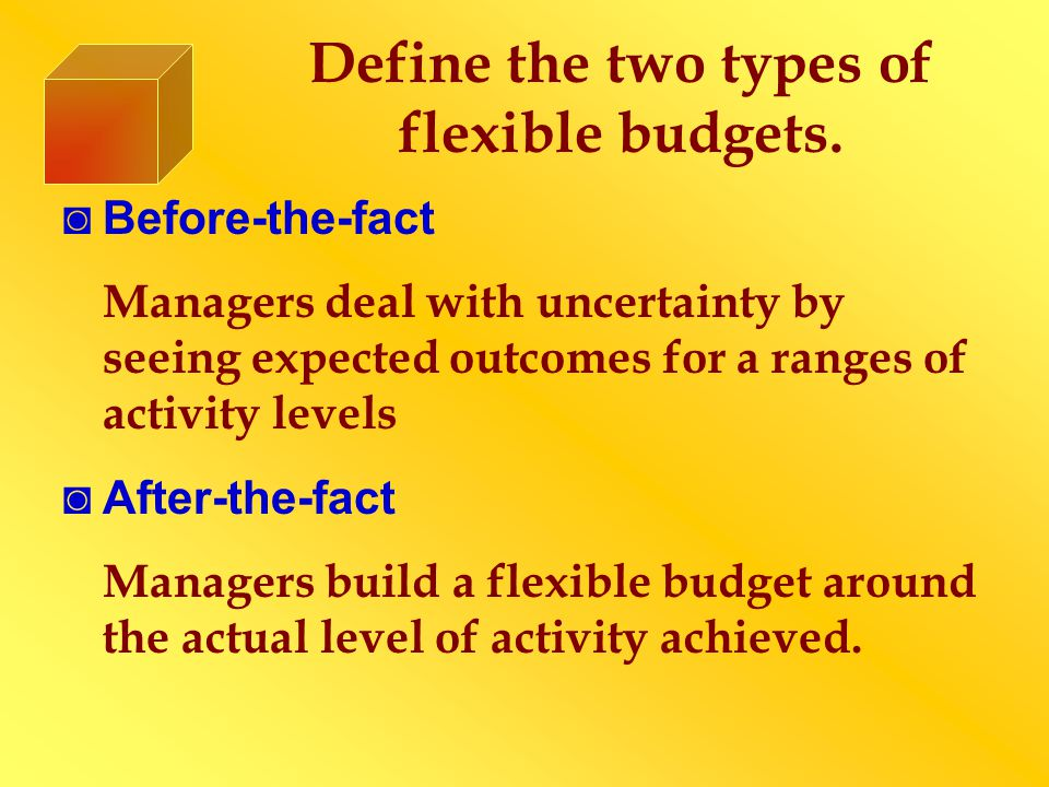Discuss Fixed Overhead Variance Analysis ◙ Fixed overhead costs represent capacity costs, manufacturing capacity costs acquired in advance of usage and often allocated over time ◙ The Standard Fixed Overhead Rate (SFOR) = Budgeted Fixed Overhead Costs / Practical Capacity ◙ Measurement is usually done in DLH or MH instead of units
