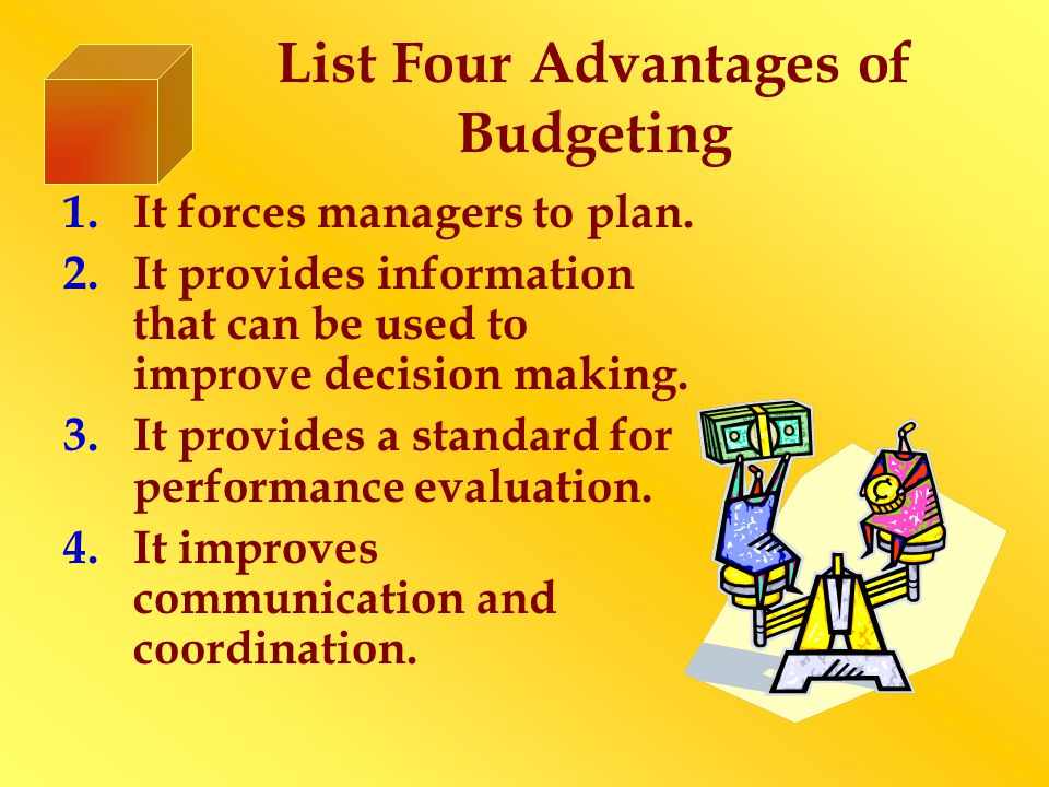 List Four Advantages of Budgeting 1.It forces managers to plan.