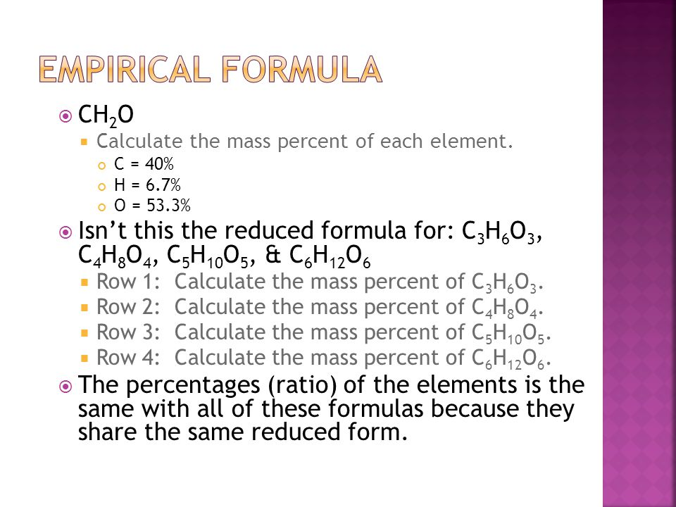  CH 2 O  Calculate the mass percent of each element.
