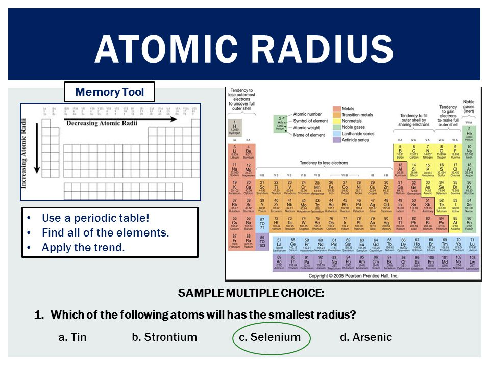 ATOMIC RADIUS Memory Tool SAMPLE MULTIPLE CHOICE: 1. Which of the following atoms will has the smallest radius? a. Tinb. Strontium c. Selenium d. Arse