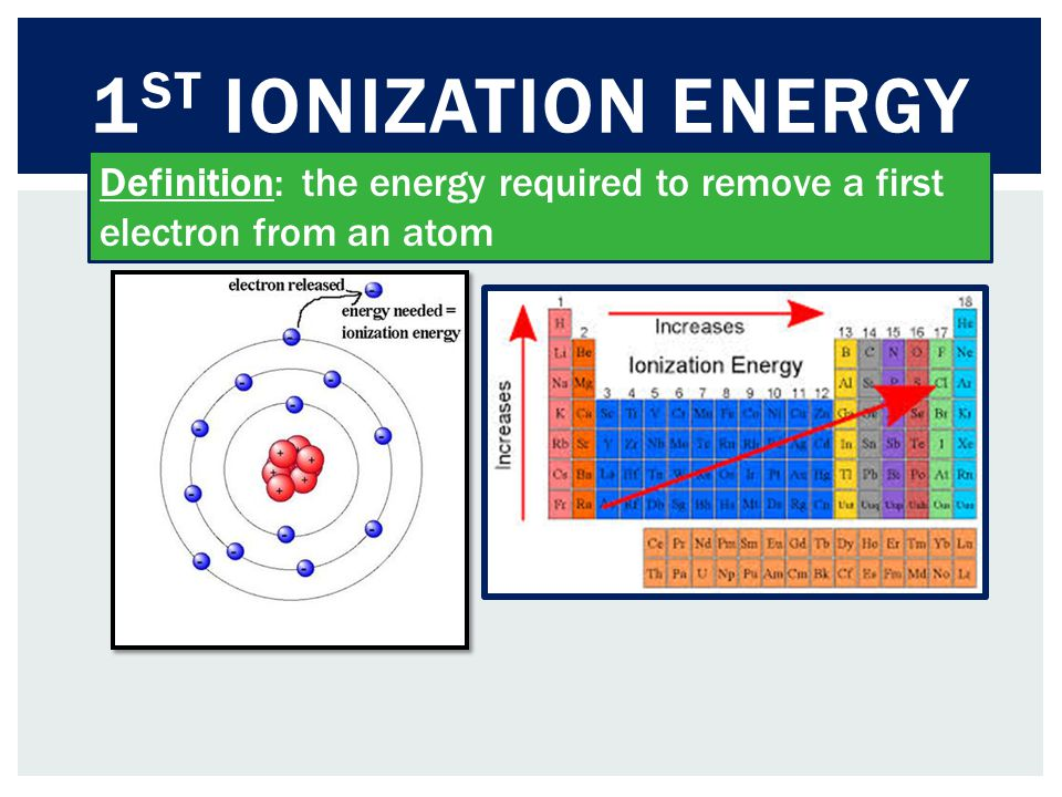 1 ST IONIZATION ENERGY Definition: the energy required to remove a first electron from an atom