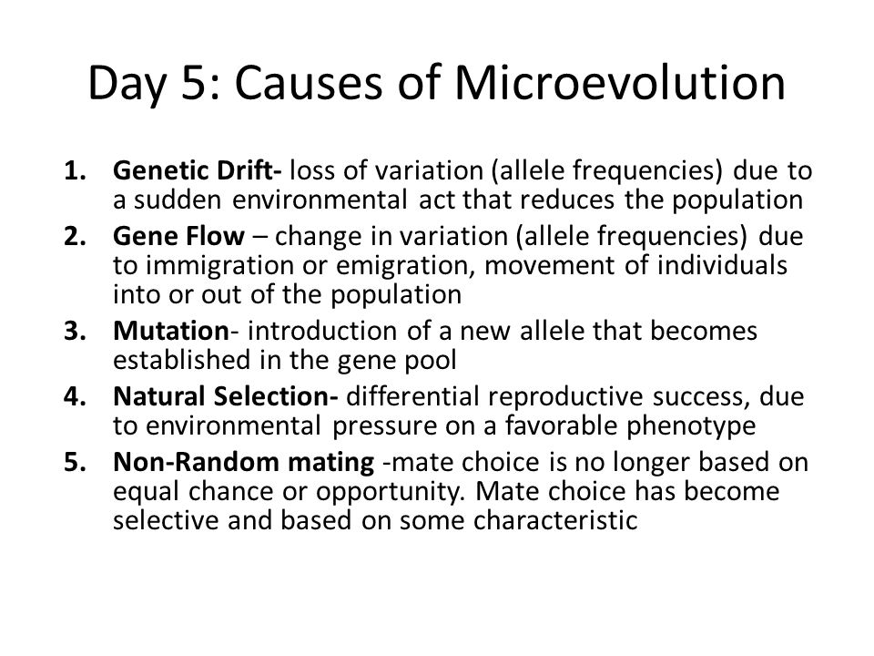 1.Genetic Drift- loss of variation (allele frequencies) due to a sudden environmental act that reduces the population 2.Gene Flow – change in variation (allele frequencies) due to immigration or emigration, movement of individuals into or out of the population 3.Mutation- introduction of a new allele that becomes established in the gene pool 4.Natural Selection- differential reproductive success, due to environmental pressure on a favorable phenotype 5.Non-Random mating -mate choice is no longer based on equal chance or opportunity.