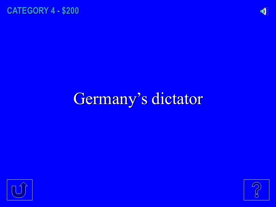 CATEGORY 4 - $100 Italy's dictator.