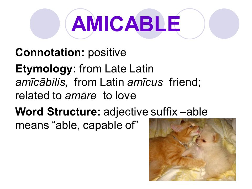 AMICABLE Connotation: positive Etymology: from Late Latin amīcābilis, from Latin amīcus friend; related to amāre to love Word Structure: adjective suf