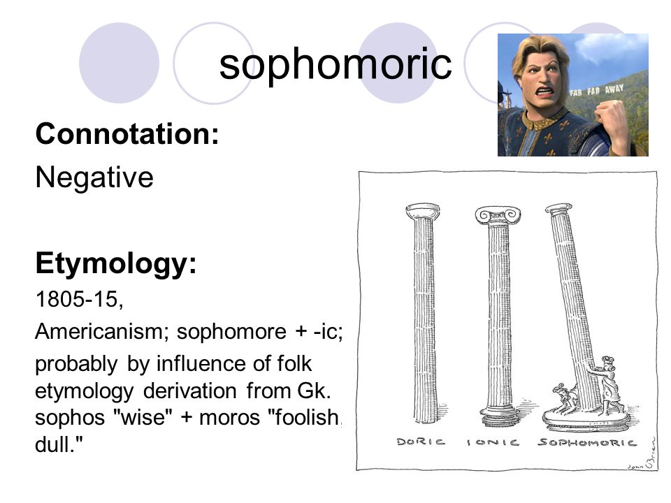 sophomoric Connotation: Negative Etymology: 1805-15, Americanism; sophomore + -ic; probably by influence of folk etymology derivation from Gk. sophos