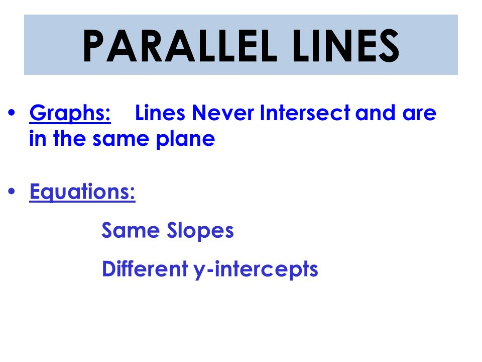 Graphs: Lines Intersect at 90º angles Equations: Opposite Reciprocal Slopes With the same or different y-int PERPENDICULAR LINES