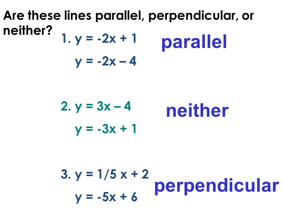 1.y = -2x + 1 y = -2x – 4 2.y = 3x – 4 y = -3x + 1 3.y = 1/5 x + 2 y = -5x + 6 parallel neither perpendicular Are these lines parallel, perpendicular,