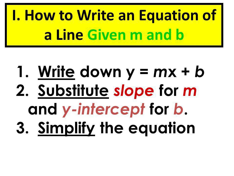 Write the equation of the line given m and b.Ex. 1 Slope is -5 and y-intercept is 2 Ex.
