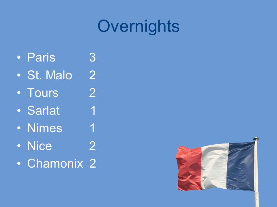 Overnights Paris 3 St. Malo 2 Tours 2 Sarlat 1 Nimes 1 Nice 2 Chamonix 2