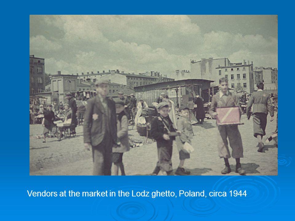 Vendors at the market in the Lodz ghetto, Poland, circa 1944