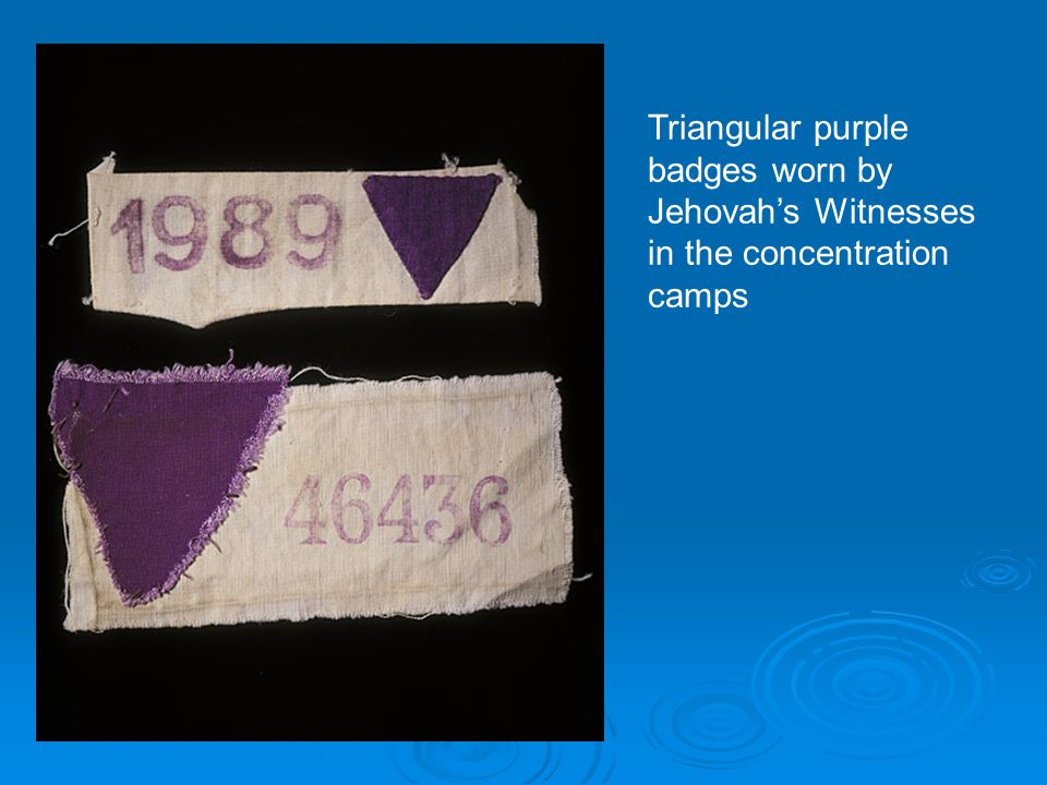 Triangular purple badges worn by Jehovah's Witnesses in the concentration camps