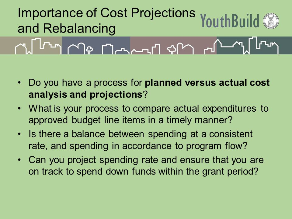 Importance of Cost Projections and Rebalancing Do you have a process for planned versus actual cost analysis and projections.
