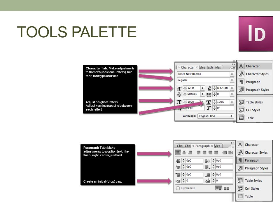 TOOLS PALETTE Character Tab: Make adjustments to the text (individual letters), like font, font type and size.