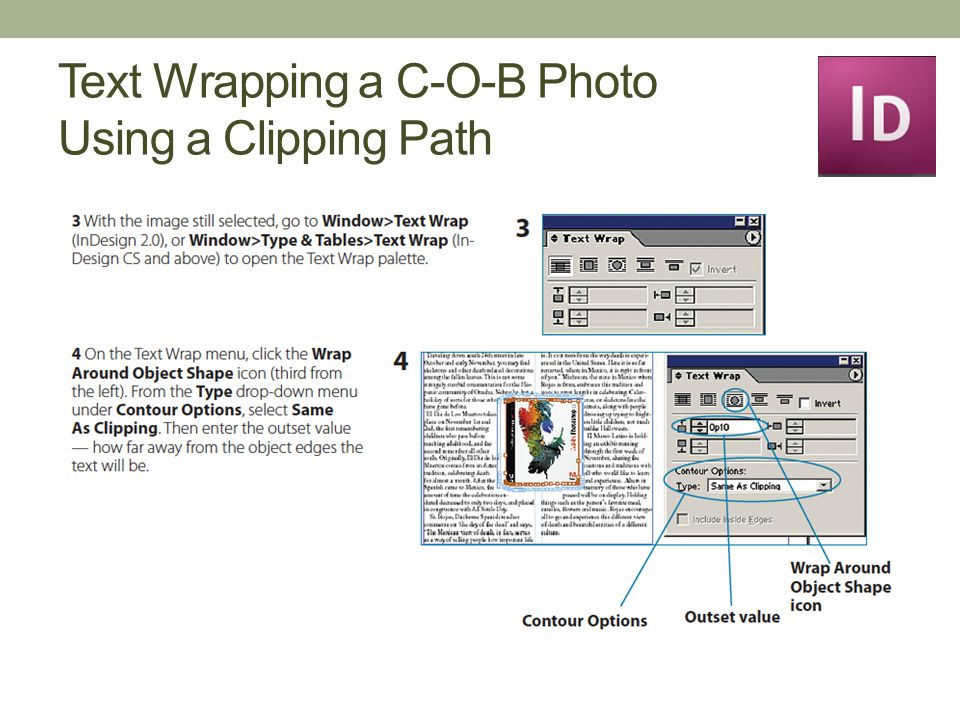 Text Wrapping a C-O-B Photo Using a Clipping Path