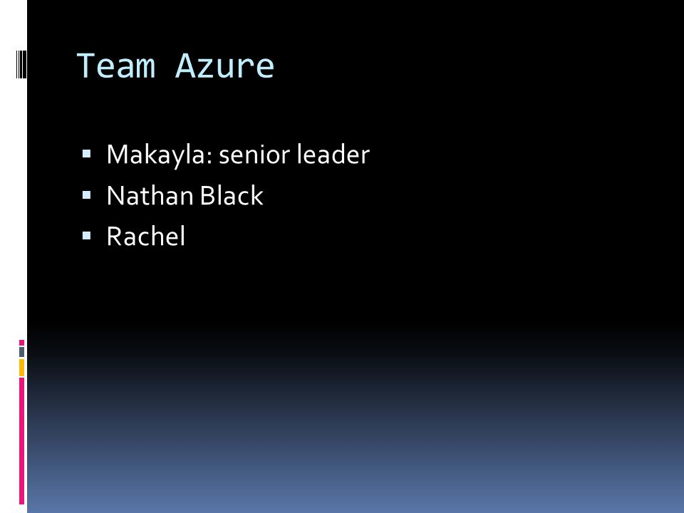 Team Azure  Makayla: senior leader  Nathan Black  Rachel