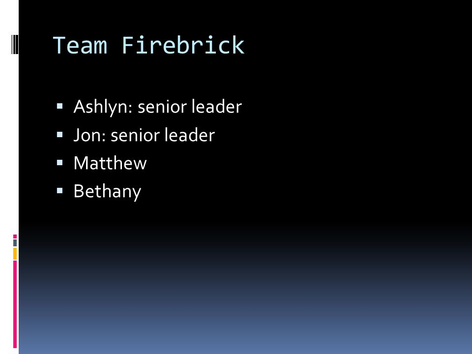 Team Firebrick  Ashlyn: senior leader  Jon: senior leader  Matthew  Bethany
