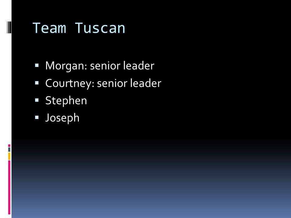 Team Tuscan  Morgan: senior leader  Courtney: senior leader  Stephen  Joseph
