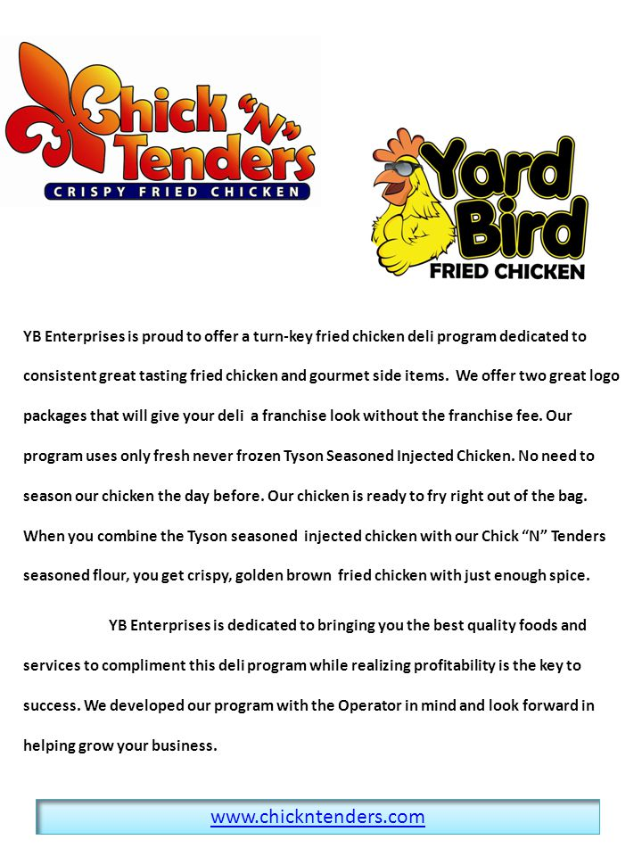 YB Enterprises is proud to offer a turn-key fried chicken deli program dedicated to consistent great tasting fried chicken and gourmet side items.