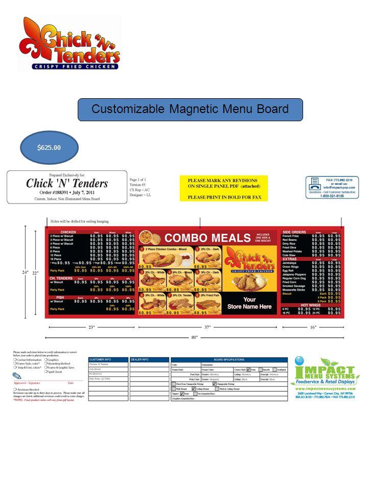 Customizable Magnetic Menu Board $625.00
