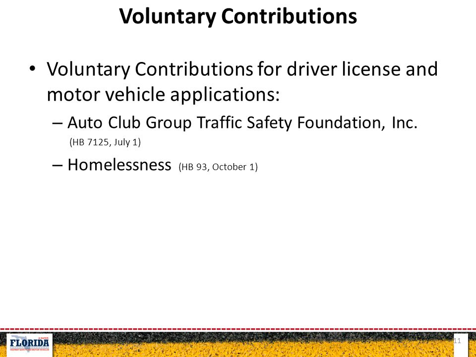 Voluntary Contributions for driver license and motor vehicle applications: – Auto Club Group Traffic Safety Foundation, Inc. (HB 7125, July 1) – Homel